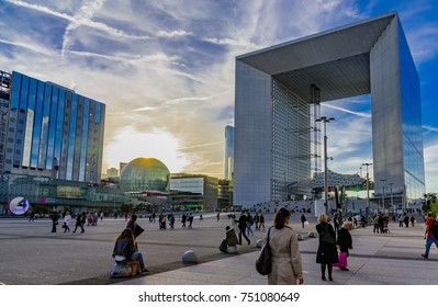 PARIS, FRANCE - OCTOBER 05, 2017 -  Skyscrapers in the financial district of Paris, with blue sky and business people working