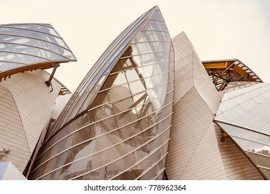 Paris, France - October 05 2017: Louis Vuitton Foundation, famous exhibition building built by the famous French haute couture house