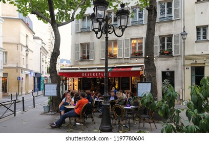 PARIS, France - October 06 , 2018: Beaurepaire is Basque restaurant located in the Notre Dame neighborhood in Paris, France.