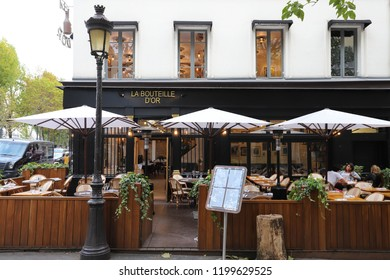 PARIS, France - October 06 , 2018: Bouteille dOr is traditional French restaurant located in the Notre Dame neighborhood in Paris, France.