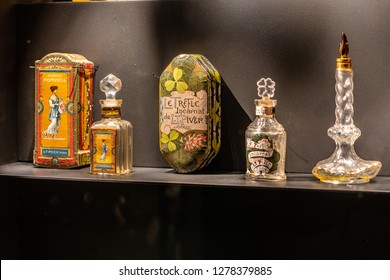Paris, France, October 09, 2018: Fragonard Perfume Museum, The House of Fragonard selling perfumery products directly to the tourists