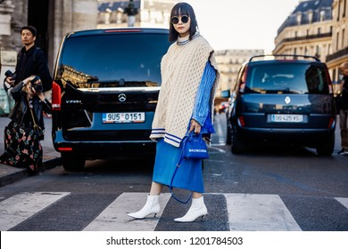 PARIS, FRANCE - OCTOBER 1, 2018: A guest is seen outside STELLA McCARTNEY SS'2019 show at Paris Fashion Week