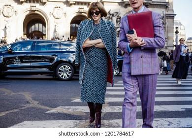 PARIS, FRANCE - OCTOBER 1, 2018: Anna Wintour after STELLA McCARTNEY SS'2019 show at Paris Fashion Week