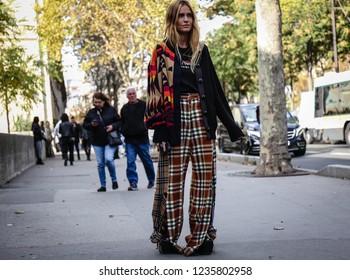 PARIS, France- October 1 2018: Blanca Miro' Scrimieri on the street during the Paris Fashion Week.