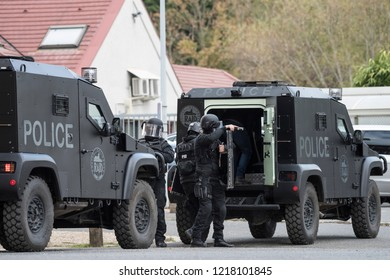 Paris, FRANCE - OCTOBER 10, 2018 : the anti-terrorist and elite tactical unit of the French National Police, the RAID (Research, Assistance, Intervention, Deterrence) during a live exercise.