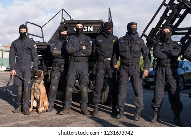 Paris, FRANCE - OCTOBER 10, 2018 : the anti-terrorist and elite tactical unit of the French Gendarmerie, the GIGN (National Gendarmerie Intervention Group) during a live exercise.