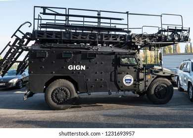 Paris, FRANCE - OCTOBER 10, 2018 : The Sherpa armoured truck during a demo of the GIGN (National Gendarmerie Intervention Group).