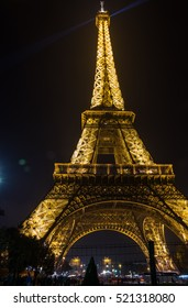 PARIS, FRANCE - OCTOBER 11, 2015: The Eiffel Tower is a wrought iron lattice tower on the Champ de Mars in Paris, France