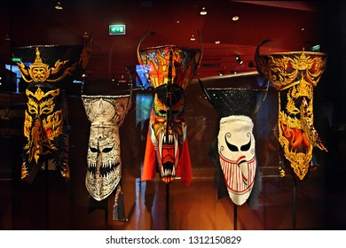 PARIS, FRANCE- October 11, 2016. Traditional masks from Thailand in the Museum du Quai Branly.