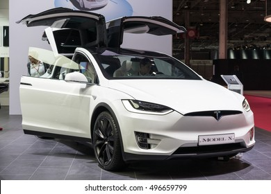 PARIS, FRANCE - OCTOBER 11, 2016: Tesla Model X is displayed at Paris Motor Show. The Tesla Model X is a full-sized, all-electric, luxury, crossover SUV.