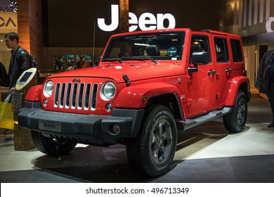PARIS, FRANCE - OCTOBER 11, 2016: Jeep Wrangler is displayed at Paris Motor Show. It's a compact and mid-size four-wheel drive off-road vehicle , manufactured by Jeep.