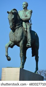PARIS, FRANCE - OCTOBER 12 14: The bronze equestrian statue of Simon Bolivar in Paris, which originally was produced by the French sculptor and artist Emmanuel Fremiet offered by the Latin republics