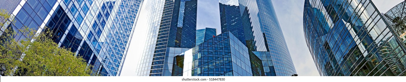 PARIS, FRANCE - OCTOBER 12, 2015: Panoramic view of the La Defense, commercial and business center of Paris, France.