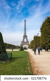 PARIS, FRANCE - OCTOBER 12, 2015: Tour Eiffel is a wrought iron lattice tower on the Champ de Mars in Paris, France