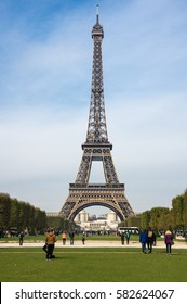 PARIS, FRANCE - OCTOBER 12, 2015: The Eiffel Tower is a wrought iron lattice tower on the Champ de Mars in Paris, France