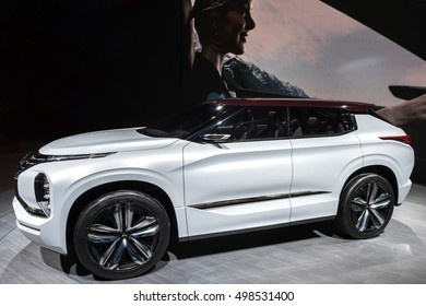 PARIS, FRANCE - October 12, 2016 : World premiere of the concept car GT PHEV an hybrid Outlander from Mitsubishi car manufacturer at the Paris Motor show 2016.