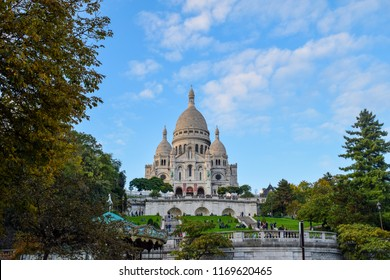 Paris, France - October 12 2017: The Basilica of the Sacred Heart (Sacre Cœur Basilica) Montmartre, Paris, France