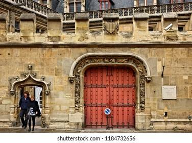 """PARIS, FRANCE- October 13, 2016. The entrance of the Medieval Museum (Musée national du Moyen Âge- also known as """"Musée de Cluny""""), Quartier Latin."""
