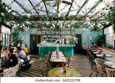 Paris, France - October, 13, 2019: Pink Mamma restaurant in Paris. Beautiful restaurant interior. Luxury restaurant in Paris.