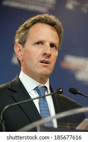PARIS, FRANCE - OCTOBER 15, 2011 : Timothy Geithner in french Ministry of economy during the G20 Finances in Paris.