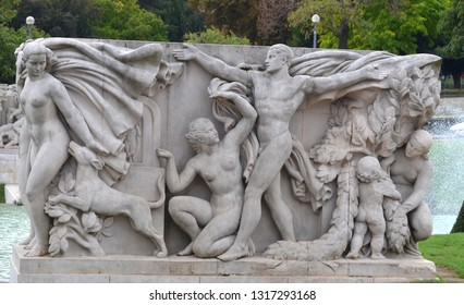 "PARIS FRANCE OCTOBER 15 2014: Trocadero gardens statue sculptured blocks frame the lower fountains ""Jeunesse"" (""Youth""), by Pierre Poisson"
