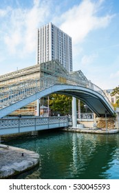 Paris, France - October 15, 2016: design hotel Holiday Inn Express at the Canal de la Villette in Paris. Paris is the capital of France and one of Europes major financial and commercial centres