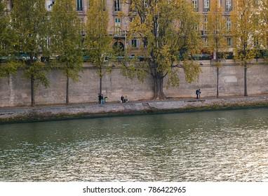 Paris, France - October 16, 2005: Seine shore left. Embankment of Voltaire (Quai Voltaire).