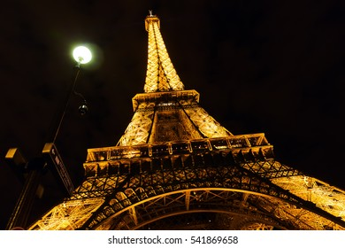 Paris, France - October 16, 2016: Eiffel Tower with light performance show at night. The Eiffel Tower is the main landmark of France and the most visited monument.