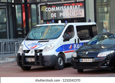 Paris, France - October 16, 2018: French Police Van Renault Trafic Parked In Front Of The Police Station. La Défense District, Europe