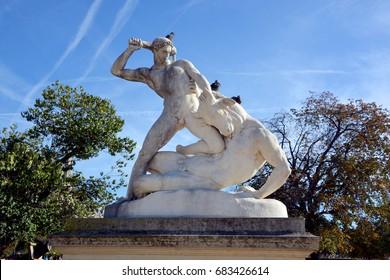 PARIS FRANCE OCTOBER 17 14: Theseus and the Minotaur, 1821, statue by Etienne Jules Ramey (1796-1852), Tuileries Garden, Paris (UNESCO World Heritage List, 1991), Ile-de-France, France