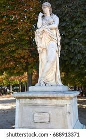 PARIS FRANCE OCTOBER 17 14: Veturie or le Silence or Vestale (1695) by Pierre II Legros, Tuileries garden, Paris, France