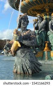 Paris, France - October 17, 2019: The Maritime Fountain de la Concorde in the Place de la Concorde in the center of Paris