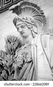 PARIS, FRANCE OCTOBER 17: Details of Triumphal Arch de l Etoile ( arc de triomphe) . The monument was designed by Jean Chalgrin in 1806 in Paris, France on October 17, 2014