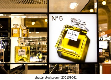 PARIS, FRANCE - OCTOBER 17 : Famous luxury Chanel N�°5 perfume in the Parisian upmarket Galeries Lafayettes on October 17th, 2013 in Paris, France