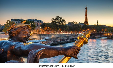 Paris, France. October 18. 2014. View of the famous Alexandre 3 Bridge at night. HDR Look.