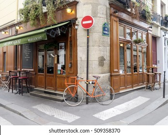 PARIS, FRANCE - OCTOBER 18, 2016: the cafe on the corner of Chanoinnesse street in Paris