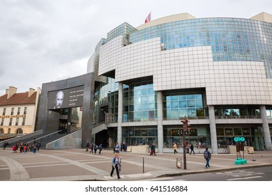 Paris, France - October 18, 2016: Opera Bastille in Paris with unidentified people. It is one of two operas in Paris, opened 1989 to the public, located at the Place de la Bastille