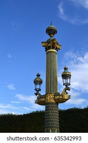 PARIS, FRANCE - OCTOBER 18: Artistic lamp post in the Place de la Concorde, Paris, France on October 18, 2013. The place was designed in 1755, it is located between Champs-Elysees and Tuileries Garden