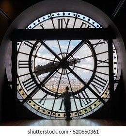Paris, France - October 19, 2016: giant clock of Musee dOrsay with unidentified people. It houses in the former Gare d'Orsay, a Beaux-Arts railway station. It is one of the largest museums in Europe