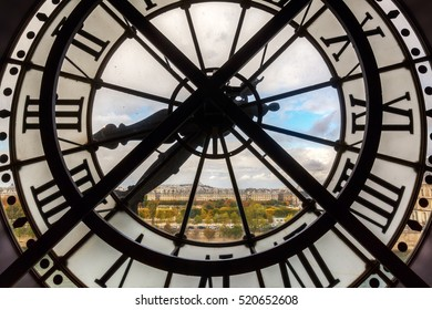 Paris, France - October 19, 2016: giant clock of Musee dOrsay. It houses in the former Gare d'Orsay, a Beaux-Arts railway station. It is one of the largest museums in Europe