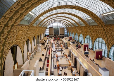 Paris, France - October 19, 2016: interior of the Musee dOrsay with unidentified people. It houses in the former Gare d'Orsay, a Beaux-Arts railway station. It is one of the largest museums in Europe
