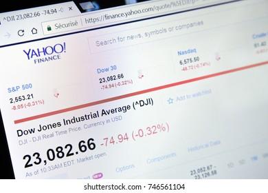 Paris, France - October 19, 2017 : Finance yahoo website homepage. Finance Dow jones Industrial rate closeup