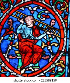 PARIS, FRANCE - OCTOBER 19: Stained glass window in the Notre Dame cathedral of Paris, France, on october 19, 2014, one of the most famous landmarks in Paris.