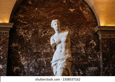 PARIS, FRANCE - OCTOBER 2, 2016: The Venus de Milo statue August 2, 2011 in Paris. Louvre the Venus de Milo statue it's one of most important statue of the world