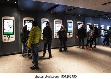 PARIS, FRANCE - OCTOBER 2, 2016: McDonalds restaurant at Avenue des Champs-Elysees. Established in France since 1979, Mcdonald's France has today more than 1200 restaurants