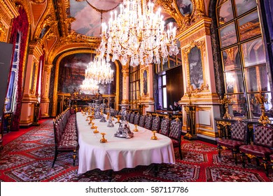 PARIS, FRANCE - OCTOBER 2, 2016 : This is dining room with the preserved interior of the times when they lived Emperor Napoleon III in the Louvre.