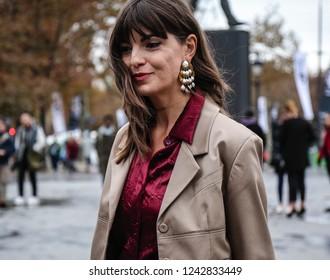 PARIS, France- October 2 2018: Kristi Gogsadze on the street during the Paris Fashion Week.