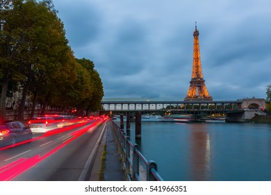 Paris, France - October 20, 2016: Eiffel Tower with light performance show at night. The Eiffel Tower is the main landmark of France and the most visited monument.