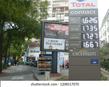 paris, france - october 20 2018 : gsa station with panel displaying the fuel prices