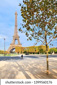 PARIS, FRANCE - OCTOBER 2015: Eiffel Tower. View from Champ de Mars during the day